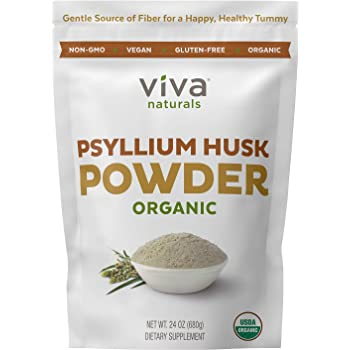 Organic Psyllium Husk Powder; Psyllium Husk Fiber Powder for Baking Keto Bread, Easy Mixing Fiber Supplement for Promoting Regularity, Finely Ground & Non-GMO, 24 oz. (Powder)