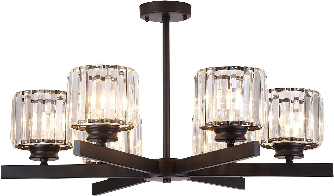 Modern 6-Lights Cheap bargain Round Crystal Cash special price Chandelier Fixtures Light Pendant