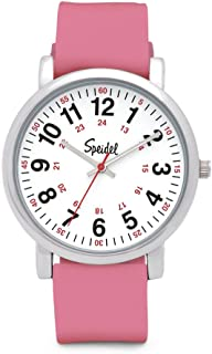 Speidel Scrub Watch for Medical Professionals with Silicone Rubber Band, Easy to Read Dial, Second Hand, Military Time for Nurses, Doctors, Students in Colors That Match Your Scrubs