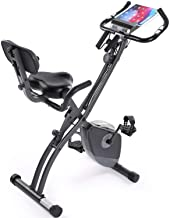 Exercise Bike Stationary Bike Foldable Magnetic Upright Recumbent Portable Fitness Cycle with Arm Resistance Bands Extra-L...