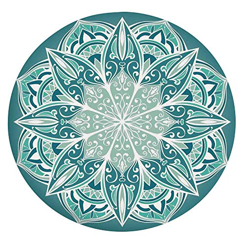 Elastic Edged Polyester Fitted Table Cover,Spiritual Ritual Mandala Symbol Pattern Indian Universe Metaphysical Cosmos Sign Table cloth,Fits Round Tables 36-40',for Dining Room Kitchen Party Teal Whit