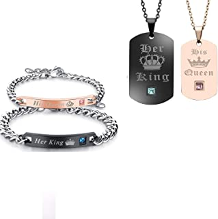 P/ärchen Lot de 2 bracelets pour homme et femme en acier inoxydable King Queen avec gravure Bracelet Lieben Bracelet pour couple Argent/é