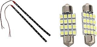 Nrpfell 2 Pcs White Dome 16 LED 3528 SMD Interior Bulb Light 36mm & 2 Pcs String Lights 15 LED Strips 30 cm Red Light Chai...