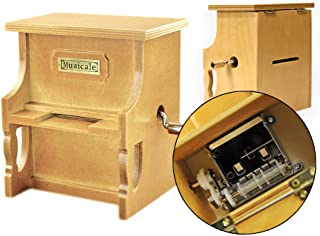 Wooden Music Box Vintage Musical Piano, Stave DIY Toys with Puch + 3 Music Papers Make Your Song