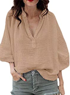 MK988 Women Plus Size Long Sleeve Casual Solid V-Neck T-Shirt Blouse Top