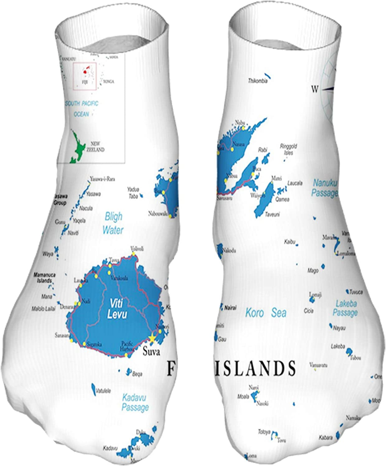 Women's Colorful Patterned Unisex Low Cut/No Show Socks,Mapping with Names Written Geographical Layout
