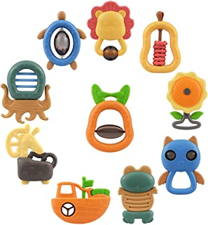 TUMAMA 10pcs Baby Rattles Teether Toys, Shaker, Grab Infant BPA Free Toys, Bright Color and Various Shapes Rattle Gift Set...