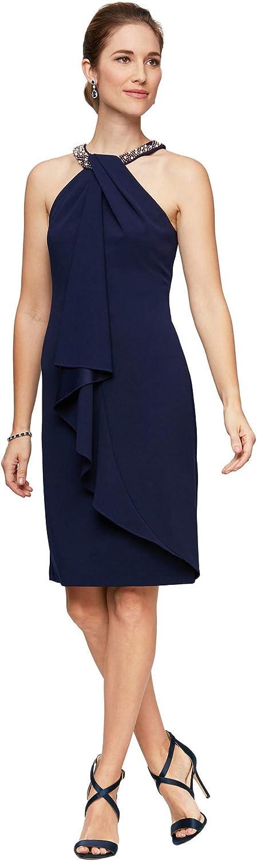 Alex Evenings womens Short Crepe Halter Neck Dress