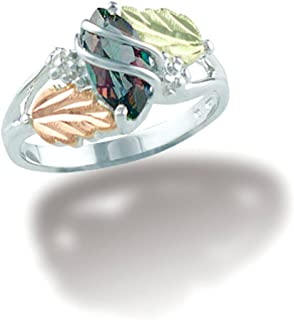 Marquise Mystic Fire Topaz Ring, Sterling Silver, 12k Green and Rose Gold Black Hills Gold Motif
