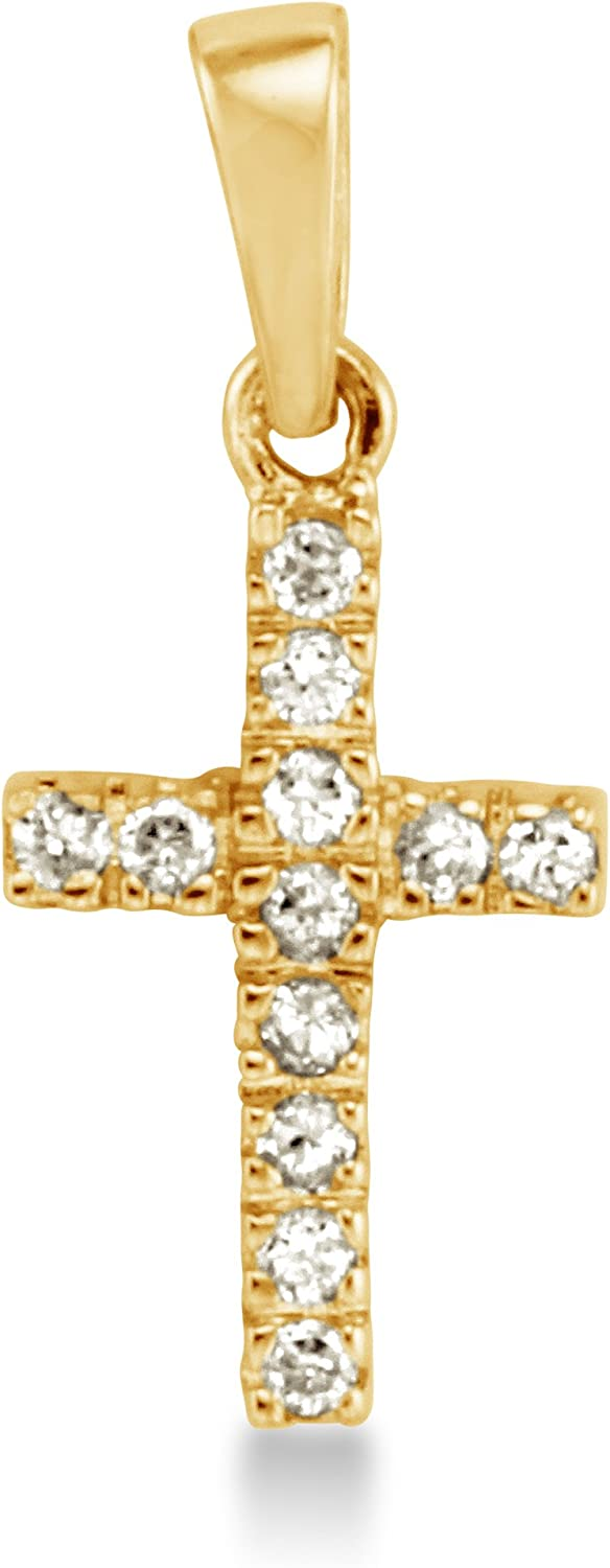 Solid Ranking TOP16 14K Yellow Gold Max 89% OFF Small Tiny Brill Shape Round Cross Classic