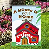 kaiyi Personality Polyester Garden Flag,1 Side House Flag,Paw Prints Home.jpg