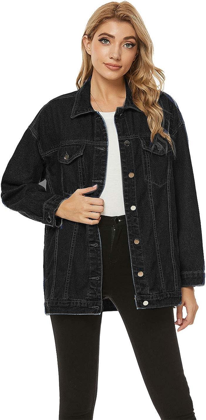 PUWEI Women's Casual Boyfriend Oversized Lapel Button Up Long Sleeve Denim Trucker Jacket with Pockets