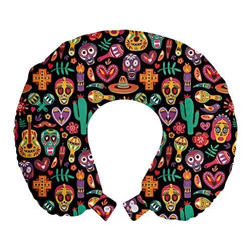 ABAKUHAUS Tag der Toten Reisekissen Nackenstütze, Schädel-Blumen Pfeffer, Schaumstoff Reiseartikel für Flugzeug und Auto, 30x30 cm, Koksgraue Multicolor