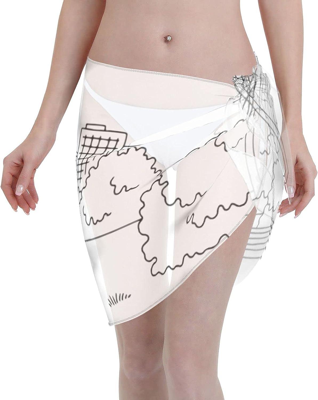 CHIC&TNK Women Short Sarongs Beach Wrap Basketball Bikini Wraps Chiffon Cover Ups for Swimwear