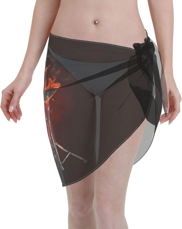 Drummer Skeleton Fire Women Beach Short Sarongs Cover Ups Beach Swimsuit Wrap Skirt Black