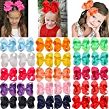 30 Pack Hair Bows for Girls 6 Inches Large Big Grosgrain Ribbon Bows Alligator Hair Clips in Pairs Hair Accessories for Baby Girls Toddler Kids Children Teens