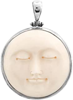 Carved Sun Moon Moonface Duo Goddess Bison Bone 925 Sterling Silver Pendant, 2