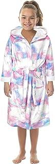 Honeystore Girls Boys Fleece Bathrobe Hooded Robe One Piece Pajamas Sleepwear TWQC-011 M(7-9 T)