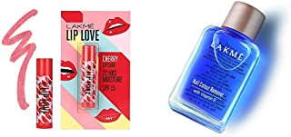Lakmé Lip Love Chapstick Cherry, 4.5 g & Lakmé Nail Color Remover, 27ml