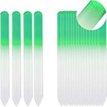 SIUSIO Set of 20 Professional Crystal Glass Nail Files Buffer Manicure Gradient Rainbow Color for Nail polishing - Best for Fingernail & Toenail Care (green)