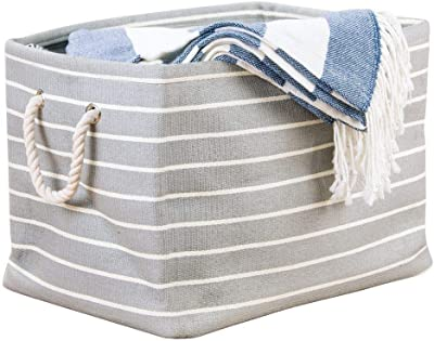 InterDesign 05150 Luca Fabric Storage, Bin with Handles for Blankets, Pillows, Clothing, Towels, Gray/Cream, Large