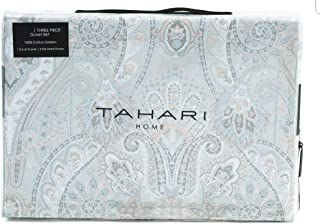 Tahari Home King Duvet Cover Set Medallion Bohemian Grey Blue Pink Paisley Silver Accents Sateen Cotton 3 Pc Set Bedding
