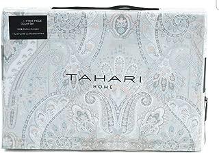 Tahari Home King Duvet Cover Set Medallion Bohemian Grey Blue Pink Paisley Silver Accents Sateen Cotton 3 Pc Set Bedding