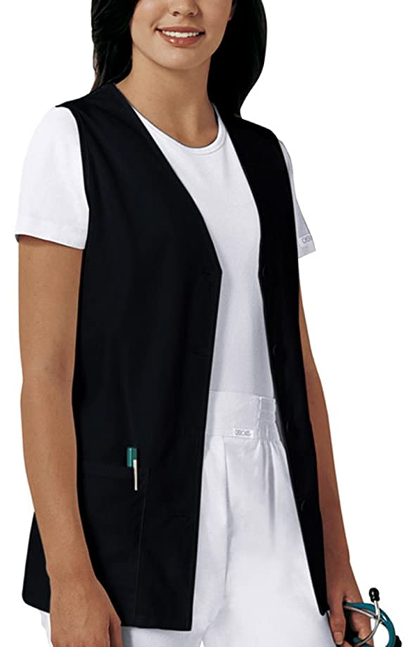 Cherokee Professional Whites Women's Button Front Vest Solid Scrub Top