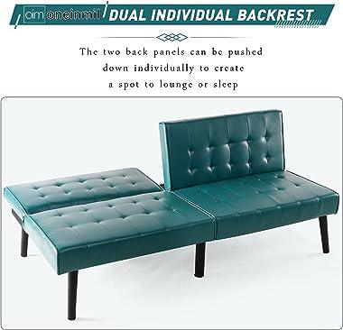 oneinmil Futon Sofa Bed, Faux Leather Convertible Sofa, 3 Adjustable Positions Folding Sofa Sleeper for Livingroom, Bedroom,