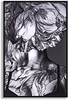 MOTINI Abstract Canvas Framed Wall Art Prints of Black and White Woman Flower Grey Picture Artwork 24