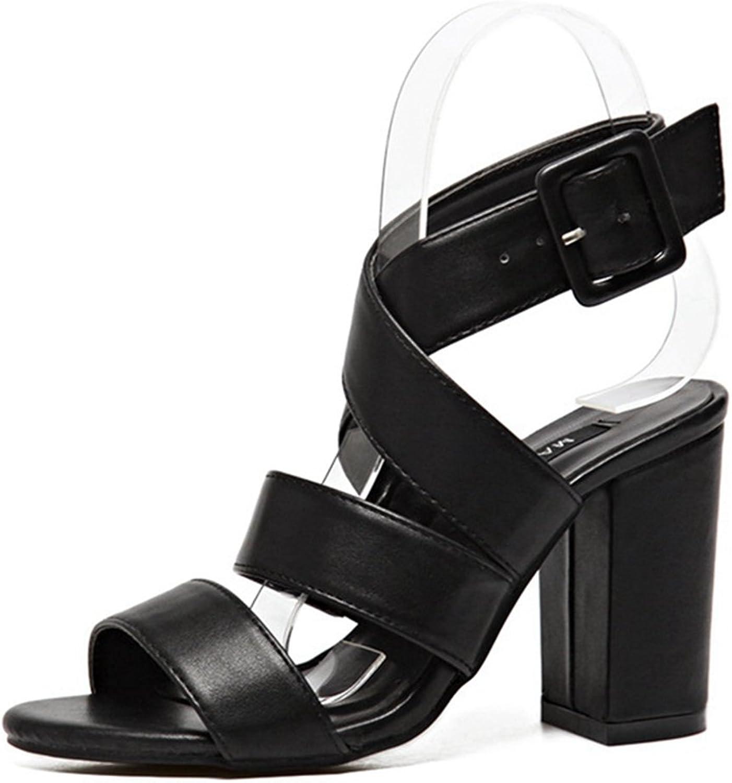 CYBLING Womens Summer Open Toe High Chunky Block Heel Criss Cross Gladiator Sandals