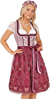 Dirndl Set Gr 34-46 Midi Trachtenkleid Dunkelrot Oktoberfest Trachten Damen rot