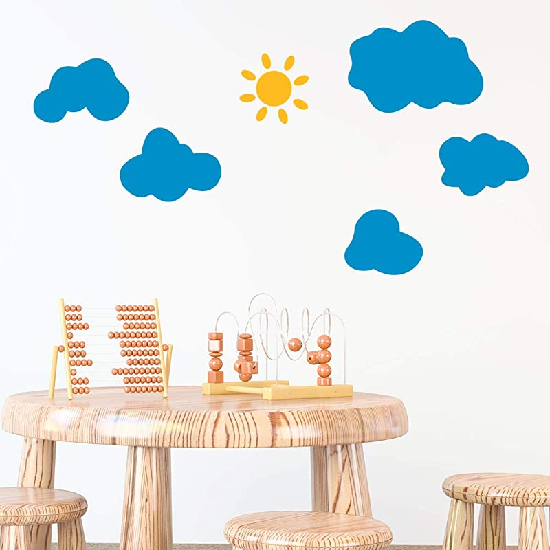 Yellow Sun And Blue Clouds Sky Graphic Kids Vinyl PVC Wall Stickers Decals Window Peel And Stick Nursery Babies Boy Baby Cute Design Girls Bedroom Living Room Decor Adhesive Decoration Home D Cor Art