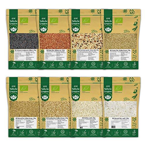 BIO Reis 8er Set BIO Reissorten Schwarz, Rot, Vollkorn, Basmati-Reis, Rundkornreis, Langkornreis, Organic BIO Qualität Reis | 8x 250g Reis-Set 2 Kg