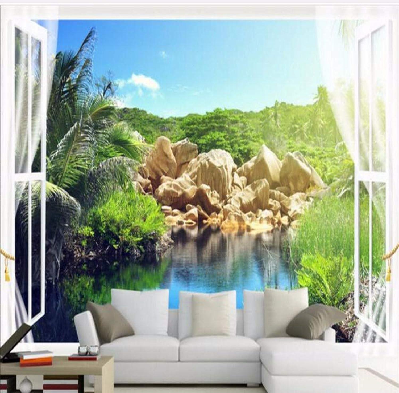 Rureng Gran Fondo De Pantalla Personalizado Vista Al Mar Balcón Ventana Estéreo 3D Salón Dormitorio Sofá Tv Fondo Parojo-200X140Cm