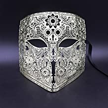 DHmart Gold Silver Full Face Bauta Phantom Cosplay Venetian Masquerade Mask Black Skull Halloween Shield Mardi Gras Metal Party Mask