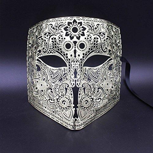 DHmart Gold Silver Full Face Bauta Phantom Cosplay Venetian Masquerade Mask Black Skull Halloween Shield Mardi Gras Metal Party Mask