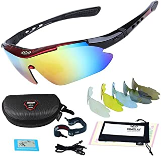 VOVOSS Cycling Glasses UV400 Protection Polarized Light Sports Sunglasses Windproof HD Eye Protection Glasses Used for Horse Riding Drive ski Fishing Comes with 5 Interchangeable Lenses