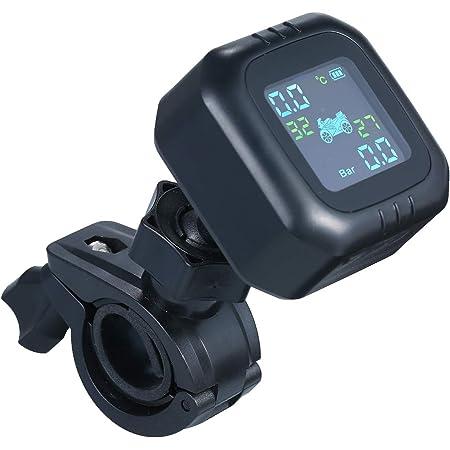 Housesweet Motorrad Tpms Reifendruckkontrollsystem Mit 2 Sensoren Motorrad Lenker Wasserdichtes Lcd Display Garten