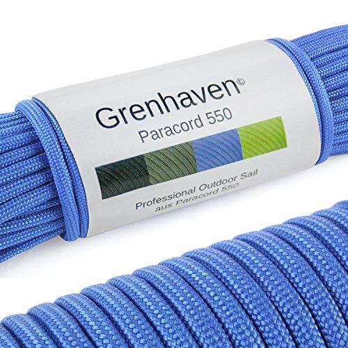 """Grenhaven Paracord Seil Blau Fallschirmschnur Universell einsetzbares Survival-Seil mit 7 Strängen 30m 550lbs 100ft aus reißfestem Parachute Cord"""" Achtung!!! Nicht zum Klettern geeignet"""
