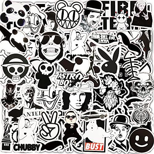 Jackify Aufkleber Pack [55 Stück], schwarz weiß Vinyl Graffiti Aufkleber für, wasserdichte ästhetische Aufkleber für Laptop Skateboard Snowboard Gepäck Motorrad Fahrrad Helm Gitarre