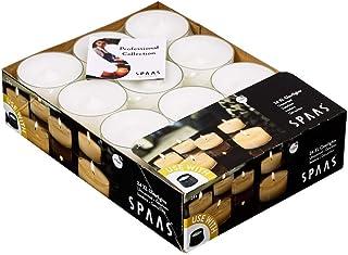 Spaas 24 Maxi - Velas de té sin Perfume en Copa Transparente Transparente, Cera de parafina, plástico, Color Blanco, 57 mm de diámetro x 28 mm de Alto