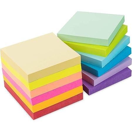 Notes Super Sticky Notes Lot de 12 Blocs - Note Autocollantes 12 Couleurs 76 x 76 mm (3 in X 3 in), 100 Feuilles/Pad, Total 1200 Feuillets pour Maison de Bureau/Utilisation Quotidienne
