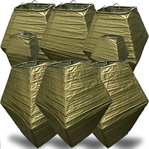 AMENOPH1S™ Neues Design Lampion (Gold) | [8er Set] qualitativ wiederverwendbare Papier Laterne | Handmade Lampenschirm Deko Garten Party | Hochzeit Dekoration | Geburtstage | 4 Größen