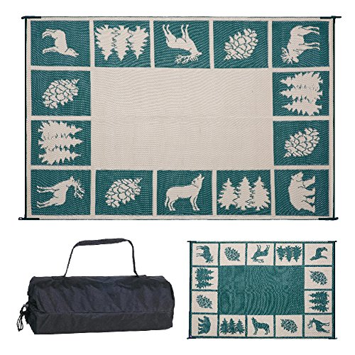 REVERSIBLE MATS - 226094 6-Feet x 9-Feet Outdoor Patio RV Camping Hunter Mat (Green/Beige)