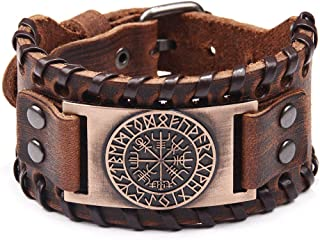 Viking Vegvisir Campass Wide Leather Bracelets for Men, Nordic Runes Vintage Jewelry