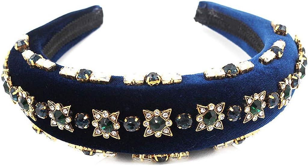 ZHENXI Creative Western Baroque Exaggerated Headband - Rhinestone Imitation Crystal Stud Hair Hoop Tiara