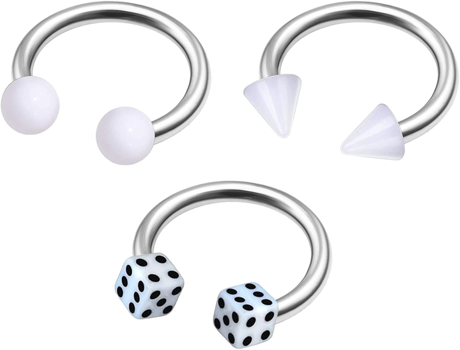 MATIGA 3Pcs Steel 16g 5/16 8mm Septum Horseshoe Ring Piercing Jewelry Tragus Nose Daith Lip 3mm Cone Ball Dice Acrylic More Choices