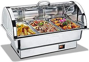Aprilhp Chafing Dish Acier Inoxydable, Chauffe-Plat Electrique de Maintien au Chaud pour Jardin Fêtes Buffet d'hotêl la Ch...