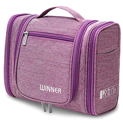 REETEE Men and Women Travel Toiletry Bag Oxford Portable Storage Pack with Hook (Purple)